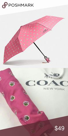 Coach Cherries Retractable Umbrella New With Tags   Brand New Coach Retractable Cherries Umbrella (Strawberry Pattern)  Color: Strawberry Size: One Size Coach Accessories Umbrellas