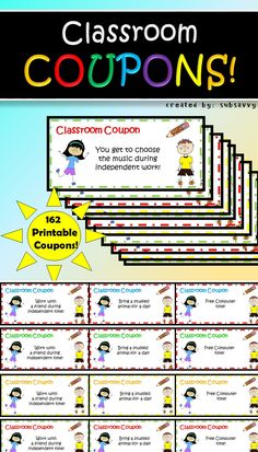 162 Printable Coupons! 25 different types of classroom rewards! Blanks included to write your own rewards.
