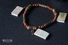 Book bracelet jewelry. Brown wood copper bracelet jewelry - pinned by pin4etsy.com