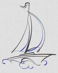 Drawn Sailing sailboat tattoo 24 - 400 X 500 Sailboat Drawing, Sailboat Art, Sailboats, Line Drawing, Painting & Drawing, Sailing Tattoo, Geniale Tattoos, Learn To Draw, Doodle Art