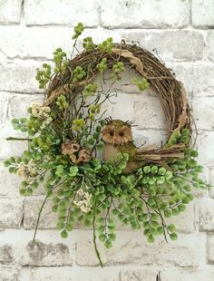 Burlap Owl Summer Wreath for Door Front Door by AdorabellaWreaths