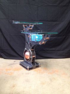 Lighted end table we call it Reach Made by machine brothers