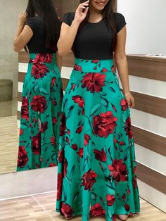 Women Dress Short Sleeves O Neck Patchwork Women Dresses Floral Printed Draped Vestidos Female Long Maxi Dress Casual Robe Size S Color short sleeve 1