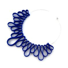 blue bib necklace, modern geometric rubber jewelry, frankideas handmade avant garde statement necklace, blue choker