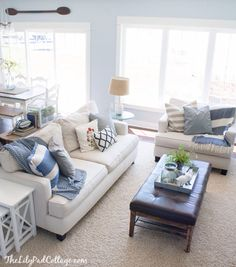 Love the coffee table and wall color, Brittany Blue by Benjamin Moore