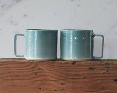 turquoise handmade mug. modern mug with square by vitrifiedstudio