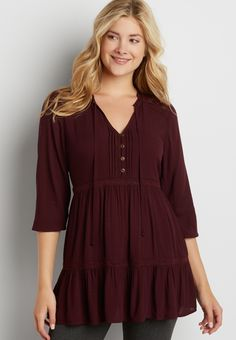 tiered tunic top with lace inlay (original price, $36.00) available at #Maurices