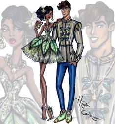 Hayden Williams Fashion Illustrations 'Disney Darling Couples' by Hayden Williams: Tiana & Prince Naveen Hayden Williams, Princess Drawings, Princess Art, Princess Style, Disney Princess Fashion, Disney Style, Disney Love, Disney Fashion, Walt Disney