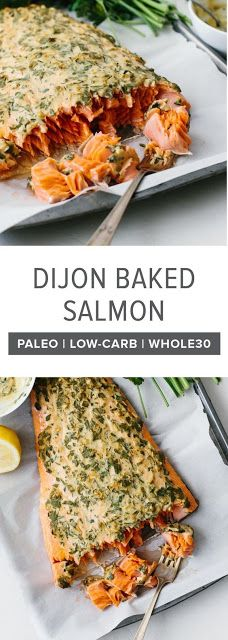 Dijon baked salmon is one of my favorite easy salmon recipes. It's incredibly flavorful and the dijon topping keeps the salmon moist light and flaky. It's the perfect healthy dinner recipe and can be made in under 30 minutes. Dijon baked salmon i Paleo Recipes, Healthy Dinner Recipes, Cooking Recipes, Cooking Pork, Breakfast Recipes, Healthy Delicious Recipes, Recipies Healthy, Healthy Dinner For One, Coffe Recipes