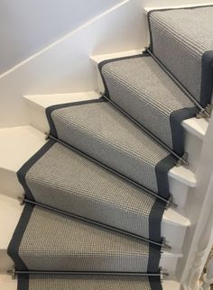 Wool Loop Pile Grey Carpet fitted to white painted staircase with grey taping and Pewter stair rods in Cobham Surrey Grey Stair Carpet, Staircase Carpet Runner, White Staircase, Hall Carpet, Staircase Design, Beige Carpet, Yellow Carpet, Basement Carpet, Staircase Ideas