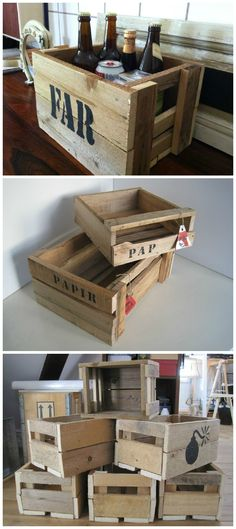 Wooden boxes made of pallets to use as a box full of gifts, shoebox, bookshelf, bicycle box etc. More information at Genanvendt website ! Idea sent by Anna Lynge ! 1001 Pallets, Recycled Pallets, Wooden Pallets, Wooden Boxes, Pallet Wood, Pallet Boxes, Pallet Walls, Wood Pallet Furniture, Caissesde Palettes