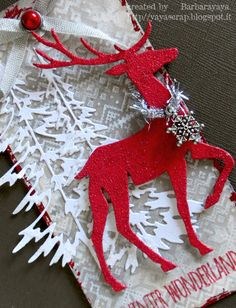 yaya scrap - Christmas card tutorial with Tim Holtz reindeer 3d Christmas, Christmas Paper Crafts, Christmas Cards To Make, Christmas Gift Tags, Xmas Cards, Christmas Projects, All Things Christmas, Xmas Gifts, Handmade Christmas