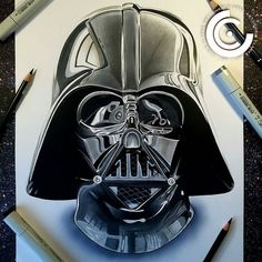 Darth Vader! Copic marker & Polychromo pencil drawing by artist @chris_clarke_art #artinspires #theartisthemotive . by worldofpencils