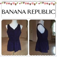 HOSTING SALE Vneck Blouse Color: purple/multi. Garter waist. V neck style. Sleeveless. 100% polyester. Banana Republic Tops Blouses