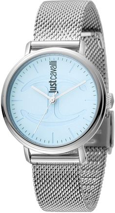 Just Cavalli Women's Stainless Steel Icy Blue Dial Watch, 34mm
