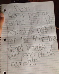 Girl Threatens To Poop On Brother's Hamster After He Put Her Barbie Up His Butt (Photo)