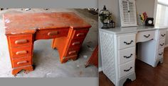 Ugly Desk turned Pretty.  I am really anxious to do some type of furniture makeover sometime very soon!