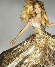 gold glittering off shoulder fairy tale sun evening gown glamour dress