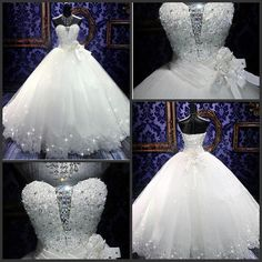 Bling Bling Crystal Wedding Dresses 2015 Real Photoes Shining Lace Ball Gown…