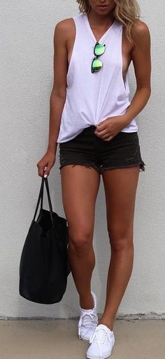 #summer #fblogger #outfits | White Tank + Black Shorts
