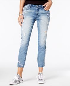 Rewash Juniors' Ripped Embroidered Skinny Jeans