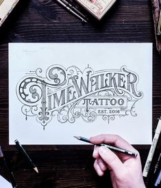 """4,340 Likes, 38 Comments - Tobias Saul (@tobiassaul) on Instagram: """"Logo sketch for @timewalkertattoo ✌️"""""""