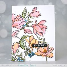 Doodlebugs: Tuesday with Toni: MFT Floral Focus Hand Stamped Cards, Mft Stamps, Pretty Cards, Crafty Projects, Sympathy Cards, Flower Cards, Clear Stamps, Paper Crafts, Floral