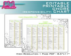 "editable chore charts | Editable / Printable Chore Chart Responsibility Chart - 8.5""x11"" PDF"