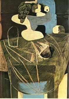 유 Still Life Brushstrokes 유 Nature Morte Painting by Pablo Picasso | Still life with fishing net, 1925