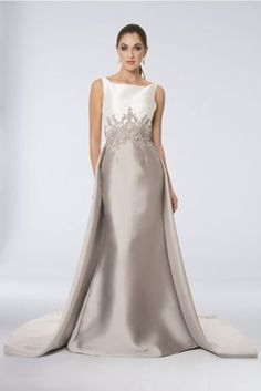 The picture of elegance, this two-tone mikado gown features a graceful boat neck bodice and beaded lace appliques that encircle the waist and climb the back. A train over the back of the skirt amps up Event Dresses, Bridal Dresses, Bridesmaid Dresses, Prom Dresses, Dresses For Apple Shape, Mothers Dresses, Wedding Dress Sleeves, Groom Dress, Davids Bridal