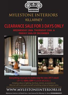 Mylestone Clearance Sale 3 Days Only Make Way, Everything Must Go, Clearance Sale, Interiors, Flooring, Living Room, Day, Furniture, Interieur