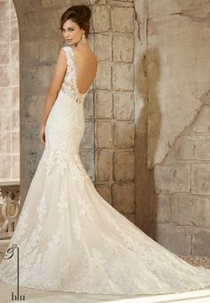 Wedding Gowns 5363 Embroidered Appliques on Net with Wide Hemline Border and Crystal Beaded Trim