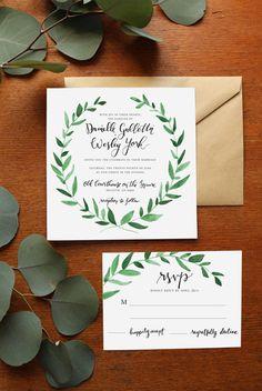 green wedding invitations for botanical wedding ideas