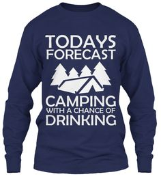 Todays Forecast Camping Navy T-Shirt Front