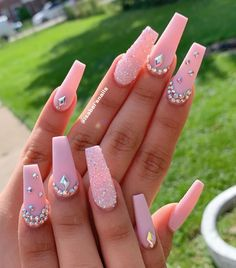 Beautiful baby pink coffin nails long with rhinestones and an accent nail! - Beautiful baby pink coffin nails long with rhinestones and an accent nail! Baby Pink Nails Acrylic, Bling Acrylic Nails, Square Acrylic Nails, Summer Acrylic Nails, Best Acrylic Nails, Rhinestone Nails, Bling Nails, Gel Nails, Sparkle Nails