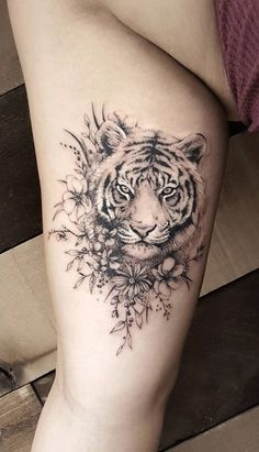 That tattoo is amazing! Need some ideas for animal tattoos? Check out our collection realistic animal tattoo posts now That tattoo is amazing! Need some ideas for animal tattoos? Check out our collection realistic animal tattoo posts now. Trendy Tattoos, Cute Tattoos, Beautiful Tattoos, Body Art Tattoos, Small Tattoos, Tiger Tattoo Small, Tiger Tattoo Thigh, Arm Tattoo, Tiger Tattoo Sleeve