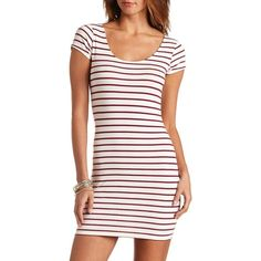 Charlotte Russe Striped Short Sleeve Cotton Bodycon Dress ($9.49) ❤ liked on Polyvore featuring dresses, multi, white short sleeve dress, white bodycon dress, short sleeve dress, stripe dress and white body con dress