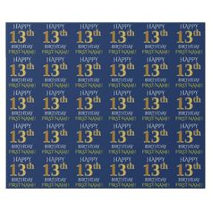 "Blue Faux Gold ""HAPPY 13th BIRTHDAY"" Wrapping Paper - birthday gifts party celebration custom gift ideas diy"