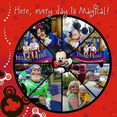 Disney scrapbooking layout. Use of circle in a pie shape. This looks digital to me. Still super cool. #disney #mickey #scrapbooking