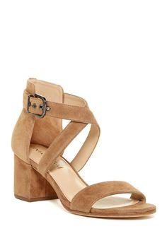 Classic Tan Via Spiga Jobina Crisscross Strap Block Heel Sandals