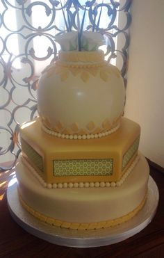 Yellow and cream Traditional African wedding cake