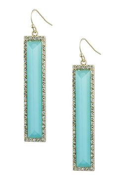 Danielle Stevens Blue Glass & Clear Halo Elongated Rectangle Drop Earrings by Danielle Stevens on @HauteLook