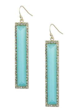 Danielle Stevens Blue Glass & Clear Halo Elongated Rectangle Drop Earrings by Danielle Stevens on @HauteLook
