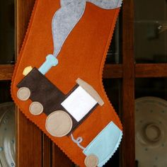 Christmas Train Christmas Stocking from by abacusathome on Etsy, $50.00