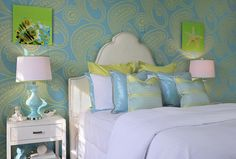 Okay, a little bright, but pretty cool color combo. House of Turquoise: Dyfari Interiors