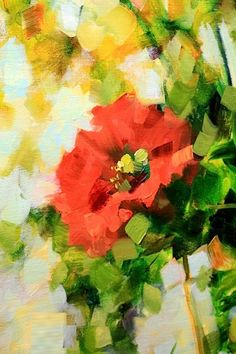 Solo Song Red Poppy Painting by Texas Flower Artist Nancy Medina, painting by artist Nancy Medina