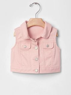 babyGap 1969 denim vest in pink cameo