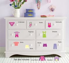 Dresser Clothing Decal  Labels  Girls por WallapaloozaDecals, $23.00