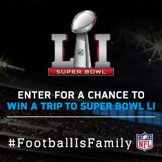 I just entered for a chance to win the #SuperBowlLI #FootballisFamily Sweepstakes via @Ticketmaster http://bit.ly/2aHXoC4