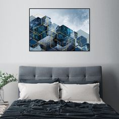 Printable Scandinavian poster navy blue gold Downloadable print. #navyblue #navygold #geometricart #hexagonart #urbanepiphany